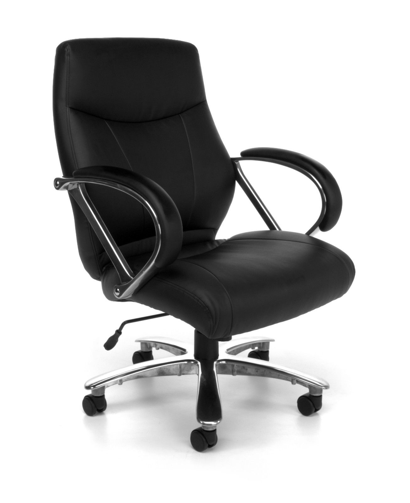 #103 - Big and Tall Black Leather Mid Back Executive Office Desk Chair