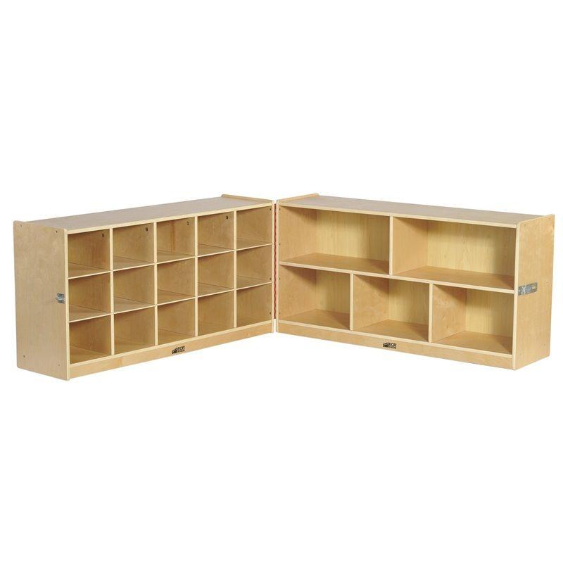 #20 - 24''Fold & Lock 15 Tray Storage Cabinet with 15 clear bins