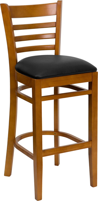 #25 - CHERRY WOOD FINISHED LADDER BACK RESTAURANT BAR STOOL WITH BLACK VINYL SEAT