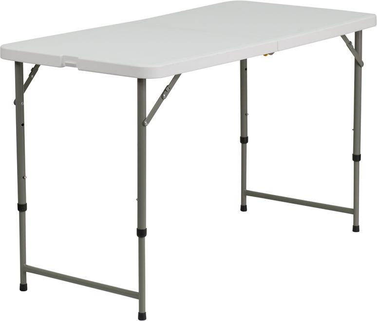 #8 - 24''W X 48''L HEIGHT ADJUSTABLE BI-FOLD GRANITE WHITE PLASTIC FOLDING TABLE