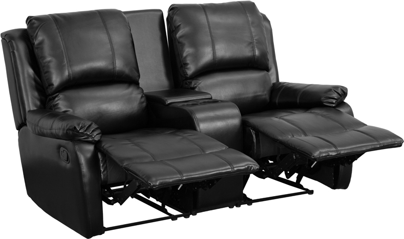 #5 - ALLURE SERIES 2-SEAT RECLINING PILLOW BACK BLACK LEATHER THEATER SEATING UNIT WITH CUP HOLDERS