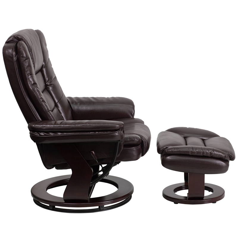 #22 - CONTEMPORARY BROWN LEATHER RECLINER AND OTTOMAN WITH SWIVELING MAHOGANY WOOD BASE