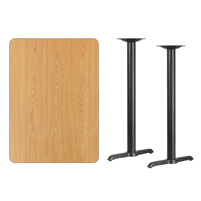 #165 - 30'' X 42'' RECTANGULAR NATURAL LAMINATE TABLE TOP WITH 5'' X 22'' BAR HEIGHT BASES