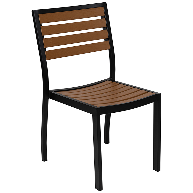 #98 - Outdoor Patio Aluminum Dining Chair with Synthetic Faux Teak Poly Slats