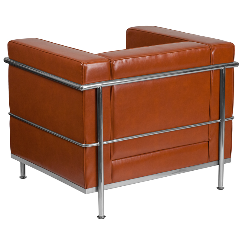 #00 - REGAL SERIES CONTEMPORARY COGNAC LEATHER CHAIR WITH ENCASING FRAME