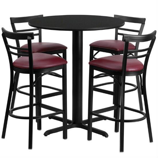 #73 - 24'' ROUND BLACK LAMINATE TABLE SET WITH 4 LADDER BACK METAL BAR STOOLS - BURGUNDY VINYL SEAT