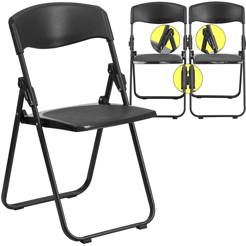 #38 - 880 lb. Capacity Heavy Duty Black Plastic Folding Chair
