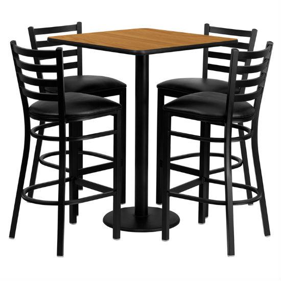 #91 - 30'' SQUARE NATURAL LAMINATE TABLE SET WITH 4 LADDER BACK METAL BAR STOOLS - BLACK VINYL SEAT