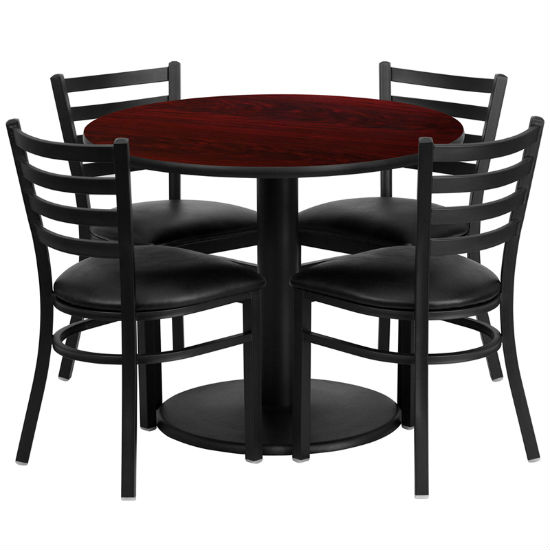 #60 - 36'' ROUND MAHOGANY LAMINATE TABLE SET WITH 4 LADDER BACK METAL CHAIRS - BLACK VINYL SEAT