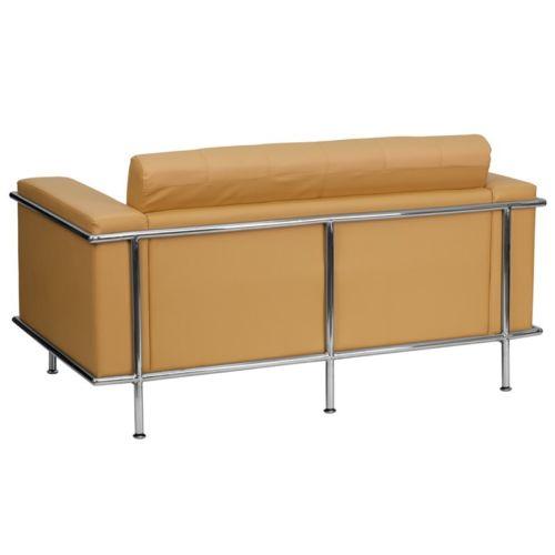 #24 - Lesley Series Light Brown Leather Love Seat w/ Encasing Frame
