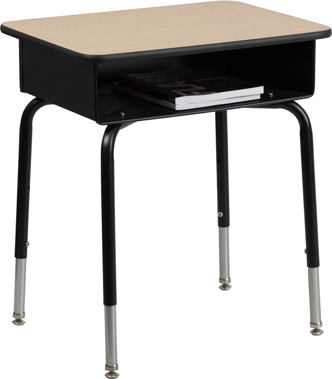 #3 - STUDENT DESK WITH OPEN FRONT METAL BOOK BOX