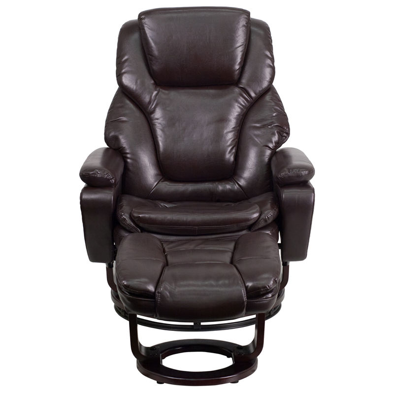 #41 - Contemporary Brown Leather Recliner and Ottoman - Swiveling Mahogany Wood Base